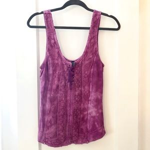 Free People Pink Tank with Lace Details